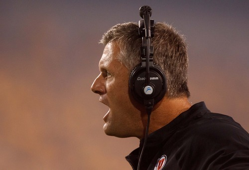 Trent Nelson  |  The Salt Lake Tribune Utah head coach Kyle Whittingham as the University of Utah faces Arizona State in Tempe on Sept. 22, 2012.