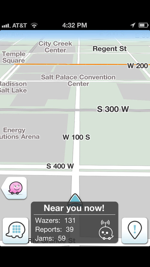 Screenshot of the Waze app for the iPhone. Courtesy image