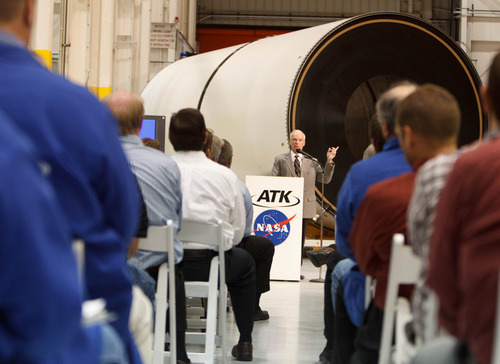 Trent Nelson  |  The Salt Lake Tribune Charles Precourt, general manager and vice president of ATK's Space Launch Division, speaks to employees as ATK and NASA announce savings made in manufacturing the solid rocket boosters for NASA's Space Launch System (SLS) Tuesday October 2, 2012 in Promontory, Utah.