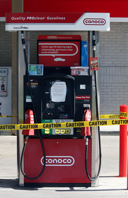 Steve Griffin | The Salt Lake Tribune  Gas pumps at the Conoco station near 4700 South and 3600 West has caution tape and a note on them in West Valley City on Sept. 28, 2012. About 15 service stations in Utah have