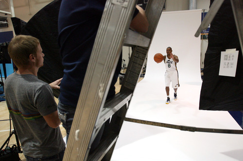Steve Griffin   The Salt Lake Tribune   New Jazz guard Randy Foye throws a pass as he is photographed during Jazz media day in Salt Lake City on Oct. 1, 2012.