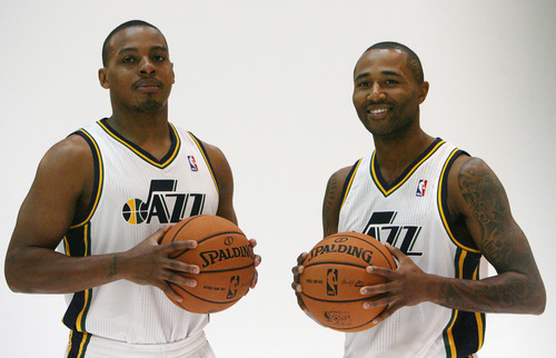 Steve Griffin | The Salt Lake Tribune   New Jazz guards Randy Foye and Mo Williams are photographed during Jazz media day in Salt Lake City on Oct. 1, 2012.