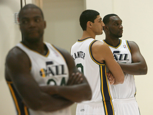 Steve Griffin | The Salt Lake Tribune   Jazz big men Paul Millsap, Enes Kanter and Al Jefferson pose for photographs during Jazz media day in Salt Lake City on Oct. 1, 2012.