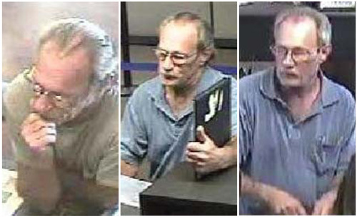 These surveillance photos provided by the Federal Bureau of Investigation's St. Louis Division shows a serial bank robber dubbed the Bucket List Bandit on, from left: June 21, June 27 and July 6, 2012. The FBI is using digital billboards around the country in the search for the man who is suspected of robberies in Missouri, Colorado, Arizona, Idaho, Utah, North Carolina, Tennessee and Illinois. He earned his nickname after he passed a note in one of the robberies claiming he had a short time to live.  (AP Photo/FBI)