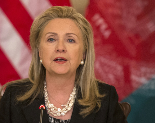 In this photo taken Oct. 3, 2012, Secretary of State Hillary Rodham Clinton speaks at the State Department in Washington. An independent panel appointed by Secretary of State Hillary Rodham Clinton is opening its inquiry into the attack on the U.S. consulate in Benghazi, Libya, amid demands from Congress for speedy answers to questions about the security of the mission and concerns that the FBI investigation into the incident has been delayed.  (AP Photo/ Evan Vucci)