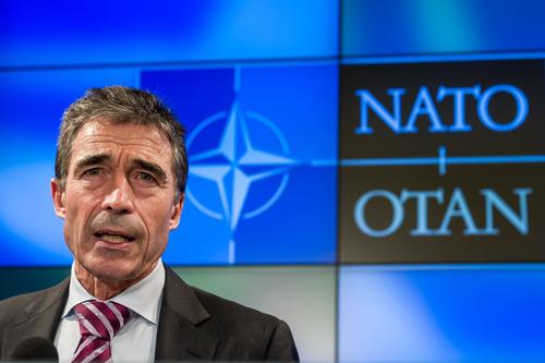 NATO Secretary General Anders Fogh Rasmussen speaks during the monthly NATO media briefing in Brussels on Monday, Oct. 1, 2012. (AP Photo/Geert Vanden Wijngaert)