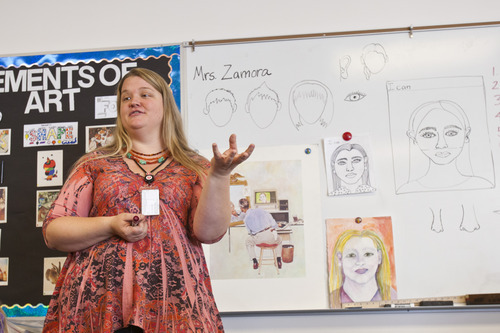 Chris Detrick  |  The Salt Lake Tribune Katie Cook-Zamora teaches fifth-graders how to draw self portraits during the Beverley Taylor Sorenson Arts Learning Program at Lincoln Elementary School, 450 East 3700 South, Tuesday October 2, 2012.