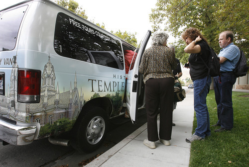 Scott Sommerdorf  |  The Salt Lake Tribune              Passengers arrive at Temple Square after taking a shuttle ride from Salt Lake City International Airport. The free service allows visitors on layovers to tour Mormonism's most sacred sites.