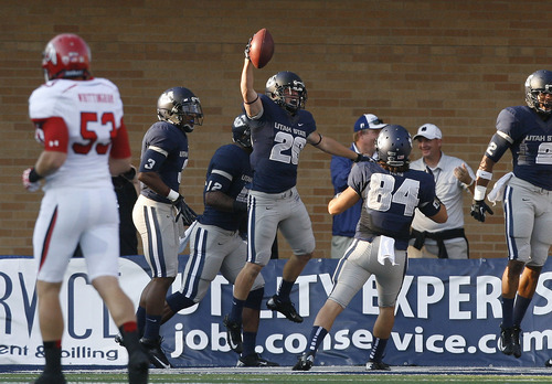Scott Sommerdorf  |  The Salt Lake Tribune              Utah State's Clayton Christensen and the rest of the Aggies are off to a 4-1 start and have had plenty of reasons to celebrate. USU can win the Beehive Boot by beating  BYU Friday night in Provo.
