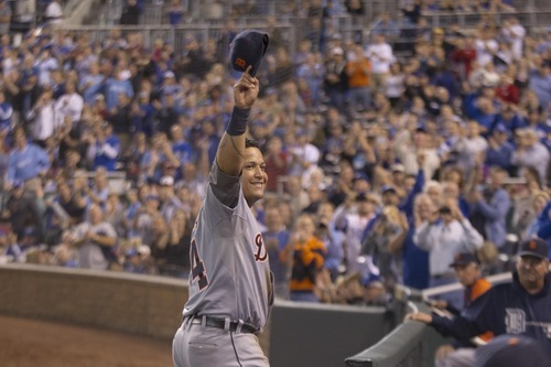 Detroit Tigers' Miguel Cabrera (24) during a baseball game against the Kansas City Royals at Kauffman Stadium in Kansas City, Mo., Wednesday, Oct. 3, 2012. (AP Photo/Orlin Wagner)