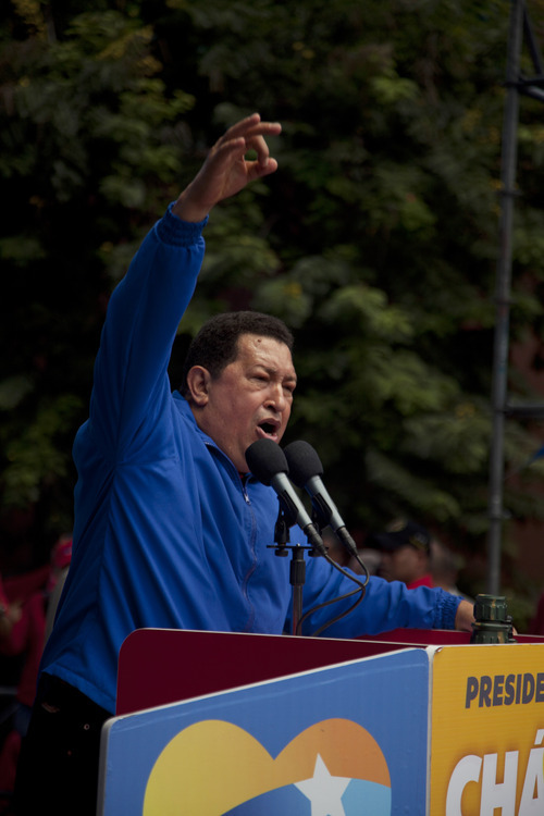 Venezuela's President Hugo Chavez delivers a speech during a rally in Maracay, Venezuela, Wednesday, Oct. 3, 2012. Chavez is running for re-election against opposition candidate Henrique Capriles in presidential elections on Oct . 7. (AP Photo/Nicolas Garcia)
