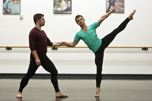 Chris Detrick  |  The Salt Lake Tribune Repertory Dance Theatre's Nicholas Cendese and Tyler Orcutt dance during a rehearsal of