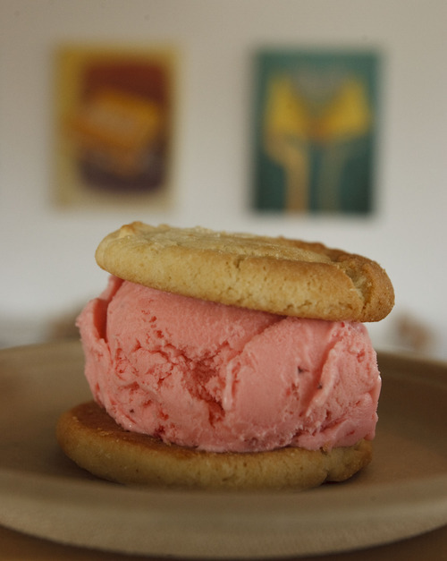 Leah Hogsten     The Salt Lake Tribune The sugar cookie sandwiched between strawberry ice cream at Melty Way in Midvale.