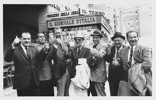Jack Gallivan, left, Dev Jennings, Gene Donovan, Max Rich,  Walker Wallace, and two others in Rome in 1966 bidding for the 1972 Winter Olympic Games. This photo was taken by then-Gov. Calvin Rampton.