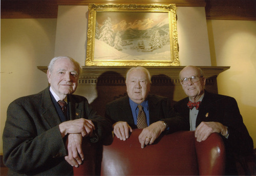 Steve Griffin | The Salt Lake Tribune Feb 1, 2002. John W. (Jack) Gallivan, Left, Cal Rampton (Center) and Walker Wallace. All who were part of a group that lobbied to bring the Olympic games to Utah. They gathered Friday in Salt Lake City. Image taken at the Alta Club in SLC Feb 1, 2002.