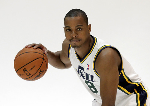 Utah Jazz's Randy Foye (8) poses for a photograph during the NBA basketball team's media day, Monday, Oct. 1, 2012, in Salt Lake City. (AP Photo/Rick Bowmer)