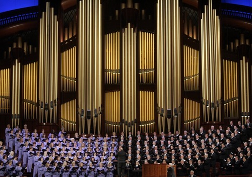 Kim Raff | The Salt Lake Tribune The Mormon Tabernacle Choir performs during the182nd Annual General Conference of the LDS Church in Salt Lake City on April 1, 2012.