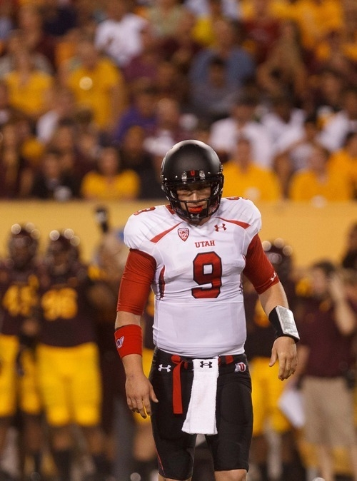 Trent Nelson  |  The Salt Lake Tribune Utah quarterback Jon Hays (9) walks off the field after a missed third down attempt in the first half as the University of Utah faces Arizona State, college football in Tempe, Arizona, Saturday, September 22, 2012.