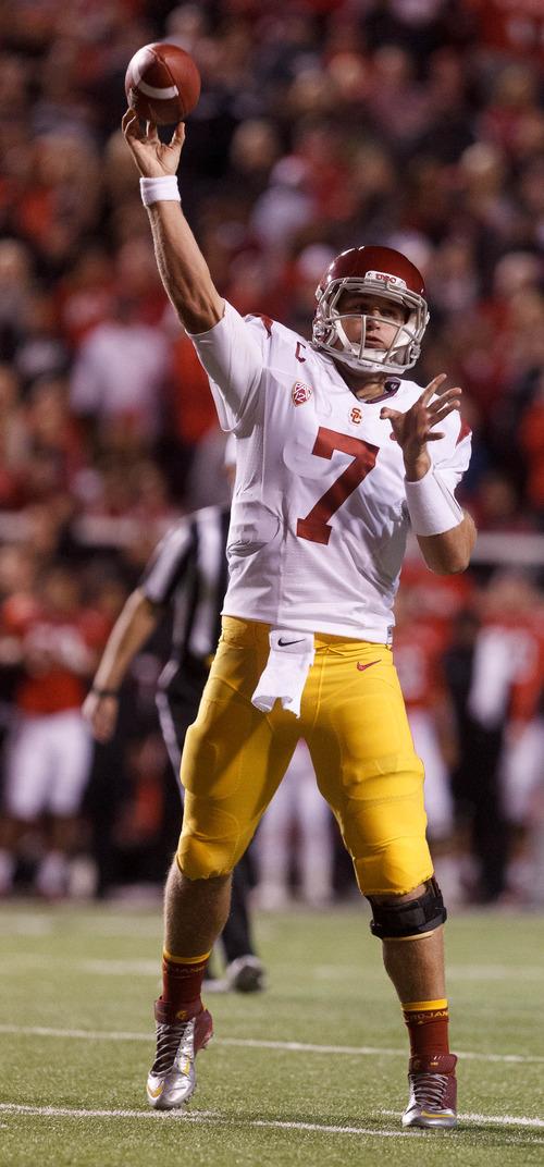 Trent Nelson  |  The Salt Lake Tribune USC quarterback Matt Barkley passes the ball during a game Oct. 4, 2012 at Rice-Eccles Stadium in Salt Lake City.