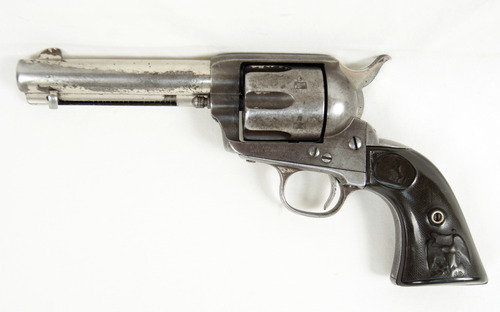This image provided by RMK Services shows a Colt .45 SAA revolver that belonged to Robert LeRoy Parker, better known as Butch Cassidy, the legendary bank thief, train robber, and leader of the Wild Bunch Gang -- the notorious Wyoming-based bandits that stalked the American West throughout the 1890s. Cassidy surrendered the revolver, known as the Amnesty Colt, to Utah authorities in 1899, in an attempt to gain amnesty and leave his life of crime. A spokesman for the seller said the gun sold at auction in Southern California to an anonymous online bidder for $175,000 Sunday, Sept. 30, 2012. (AP Photo/RMK Services)