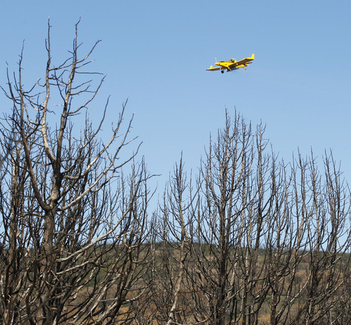 Al Hartmann  |  The Salt Lake Tribune Native and non-native seed mixture is spread by plane across  areas burned by this summer's Wood Hollow Fire near Mount Pleasant. The seeds will help with erosion problems and provide food for wildlife as the ground heals.