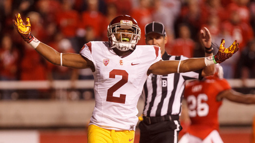 Trent Nelson  |  The Salt Lake Tribune USC's Robert Woods celebrates a firs- half touchdown against Utah during a game Oct. 4, 2012 at Rice-Eccles Stadium in Salt Lake City.