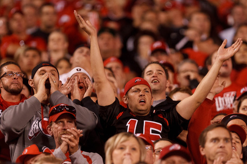 Trent Nelson  |  The Salt Lake Tribune Utah fans cheer on their team as Utah hosts USC on Oct. 4, 2012 at Rice-Eccles Stadium in Salt Lake City.