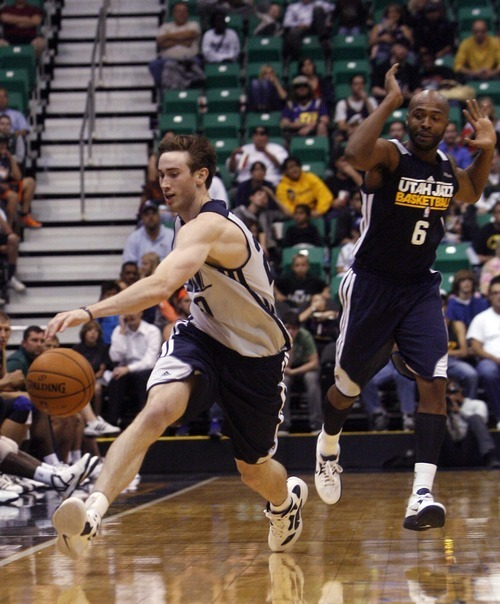 Kim Raff | The Salt Lake Tribune Jazz player Gordon Hayward chases down a loose ball during a Jazz Scrimmage at EnergySolutions Arena in Salt Lake City, Utah on October 6, 2012.