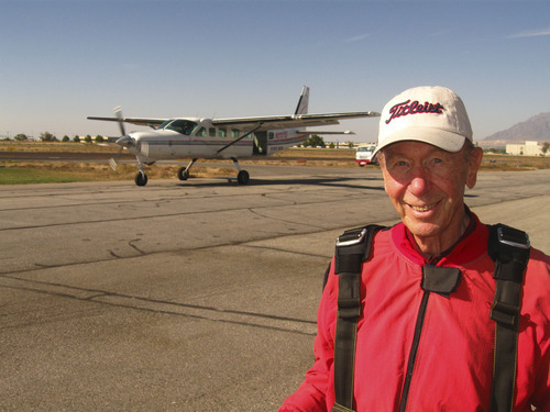 Courtesy of Timothy Micklos Bill Bassett, 85, moments before his first skydive Friday afternoon at the Ogden Hinckley Airport.