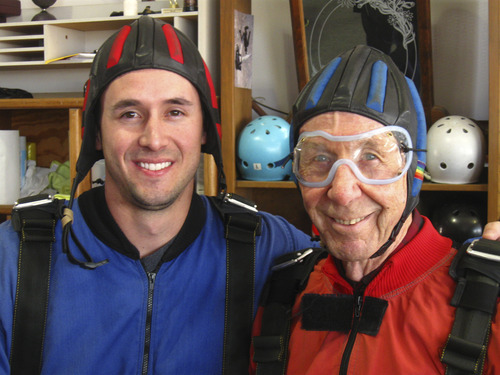 Courtesy of Timothy Micklos Scott Smith, 27, with his grandfather Bill Bassett, 85, moments before their first skydive Friday afternoon at the Ogden Hinckley Airport.
