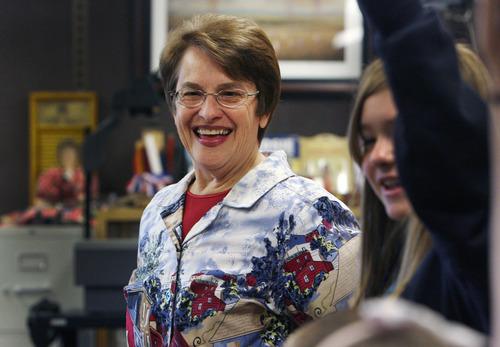 Steve Griffin | The Salt Lake Tribune   Sara Hacken smiles as she listens to her students ideas in her seventh grade Utah history class at Lakeridge Junior High School in Orem, Utah Thursday October 4, 2012.