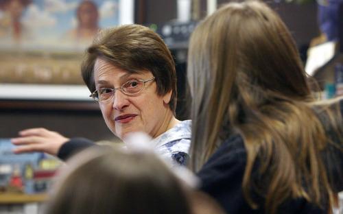 Steve Griffin | The Salt Lake Tribune   Sara Hacken listens to her students ideas as she teaches her seventh grade Utah history class at Lakeridge Junior High School in Orem, Utah Thursday October 4, 2012.