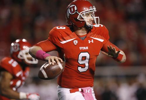 Scott Sommerdorf     The Salt Lake Tribune              Utah Utes quarterback Jon Hays (9) looks to pass during fourth quarter action. Utah beat Utah 38-28, Thursday, October 4, 2012.