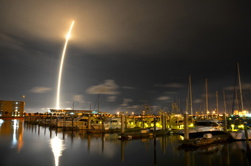A 71-second exposure as seen from Port Canaveral, Sunday, Oct. 7, 2012. SpaceX's Falcon 9 rocket successfully lifted off from Cape Canaveral Air Force Station, bringing supplies destined for the ISS into orbit. (AP Photo/Florida Today, Malcolm Denemark)