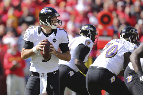 Baltimore Ravens quarterback Joe Flacco (5) during the first half of an NFL football game against the Kansas City Chiefs at Arrowhead Stadium in Kansas City, Mo., Sunday, Oct. 7, 2012. (AP Photo/Ed Zurga)