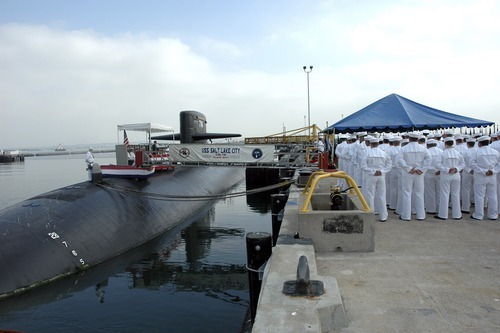 U.S. Navy photo | The crew of the Los Angeles Class fast attack submarine USS Salt Lake City stand in ranks in October 2005 during the inactivation ceremony at Naval Base Point Loma. A Utah veterans group hopes to bring the sub's deck and conning tower to Salt Lake City to create a monument.