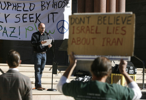 Scott Sommerdorf  |  The Salt Lake Tribune              The October 7th Committee, supported by several anti-war and veterans' groups, held a rally at the City and County Building on the 11th anniversary of the invasion of Afghanistan for Utahns to come together and voice their opposition to U.S. wars throughout the world, Sunday, October 7, 2012.
