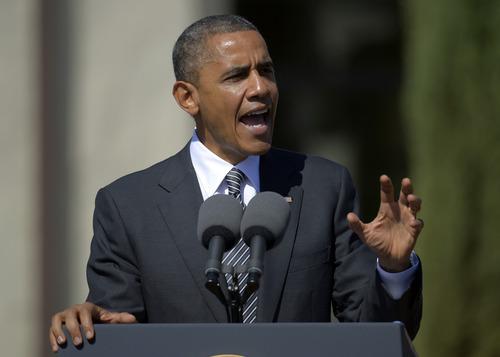 President Barack Obama speaks at the Cesar E. Chavez National Monument, Monday, Oct. 8, 2012, in Keene, Calif. (AP Photo/Mark J. Terrill)