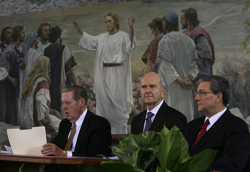 Scott Sommerdorf     The Salt Lake Tribune              Apostle Jeffrey R. Holland speaks during a press conference held at the Church Office building about the change in missionary age, Saturday, October 6, 2012.