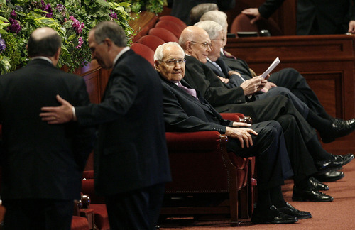 Scott Sommerdorf     The Salt Lake Tribune              Elder L. Tom Perry, a member of the Quorum of the Twelve Apostles, center, sits with other members of church leadership prior to the beginning of the afternoon session of the 182nd Semiannual General Conference, Saturday, October 6, 2012.