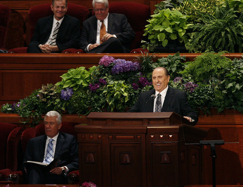 Scott Sommerdorf     The Salt Lake Tribune              President Thomas S. Monson laughs as he tells a story about his mother as he addresses the 182nd Semiannual General Conference, Saturday, October 6, 2012. He announced the lowering of age minimums for LDS missionaries. For young men the age is now 18, and for women it is now 19, effective immediately.