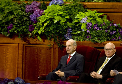 Kim Raff  |  The Salt Lake Tribune Russell Nelson sits in the chair normally occupied by Boyd K. Packer, of the Quorum of the Twelve Apostles, who did not attend the afternoon session of the 182nd Semiannual General Conference of the LDS Church in Salt Lake City on Sunday, October 7, 2012.