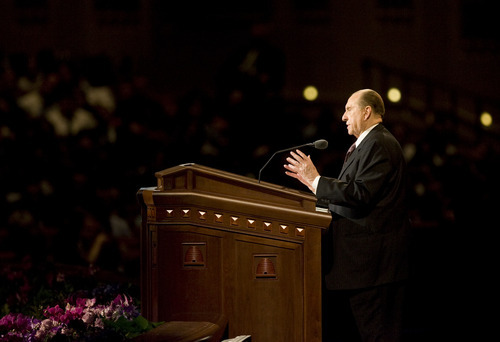 Kim Raff  |  The Salt Lake Tribune LDS President Thomas S. Monson speaks during the afternoon session during 182nd Semiannual General Conference of the LDS Church in Salt Lake City on Sunday, October 7, 2012.