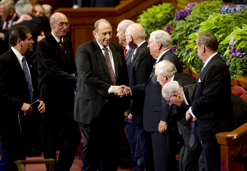 Kim Raff |  The Salt Lake Tribune LDS President Thomas S. Monson shakes hands as he leaves the afternoon session during 182nd Semiannual General Conference of the LDS Church in Salt Lake City on Sunday, October 7, 2012.