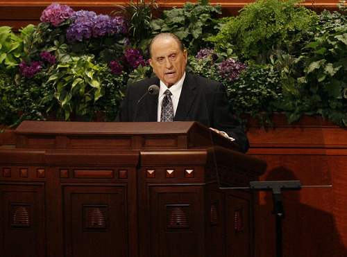 Scott Sommerdorf  |  The Salt Lake Tribune              President Thomas S. Monson addresses the 182nd Semiannual General Conference, Saturday, October 6, 2012. He announced the lowering of age minumums for LDS missionaries. For young men the age is now 18, and for women it is now 19, effective immediately.