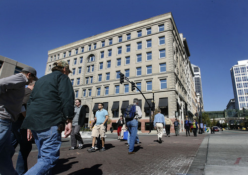 Scott Sommerdorf     The Salt Lake Tribune              The historic Crandall Building on the northwest corner of Main Street and First South in downtown Salt Lake City. Built in 1892, it was Utah's first skyscraper. Recently, it's been refurbished and  Starbucks moved in to the building in the same location as the old Schramm Johnson Tea Room, a favorite spot for non-Mormons in the early 1900s. Photographed, Monday, October 8, 2012.