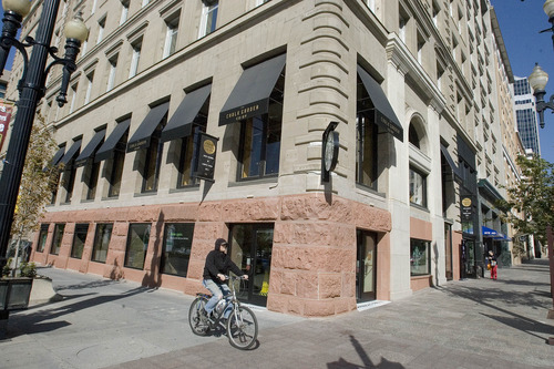 Paul Fraughton   The Salt Lake Tribune The Crandall Building in downtown Salt Lake City has had its foundation returned to show the original sandstone. It now houses a Starbucks Coffee where there was originally a tea room in the 1900s.  Thursday, October 4, 2012