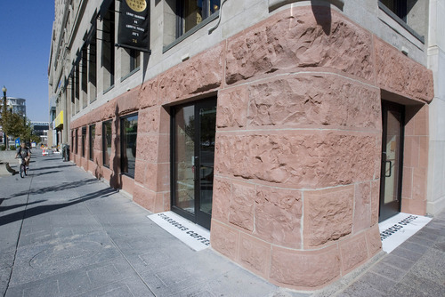 Paul Fraughton   The Salt Lake Tribune The Crandall Building in downtown Salt Lake City has had its foundation returned to show the original sandstone.  Thursday, October 4, 2012