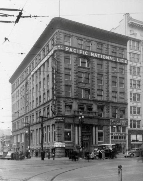 Courtesy photo Utah State Historical Society   The Crandall Building on the corner of 100 South and Main Street in Salt Lake City was originally known as the McCornick Building, shown in 1938. When it opened in 1892, the building was only four window-widths wide. The far right portion was added on in 1909.