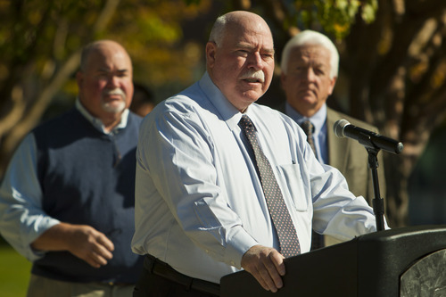 Chris Detrick  |  The Salt Lake Tribune Mayor Tom Dolan speaks outside of Sandy City Hall Tuesday October 9, 2012. October is National Domestic Violence Awareness month.